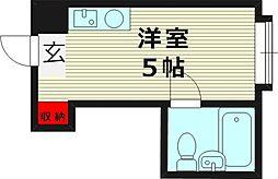 京橋ハイツ30 6階ワンルームの間取り