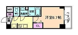 阪神本線 野田駅 徒歩5分の賃貸マンション 7階1Kの間取り