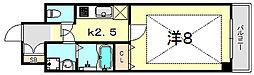 JR東海道・山陽本線 灘駅 徒歩10分の賃貸マンション 4階1Kの間取り