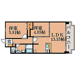 滋賀県近江八幡市白鳥町の賃貸マンションの間取り
