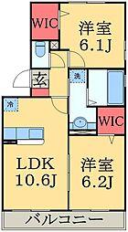千葉県千葉市中央区仁戸名町の賃貸アパートの間取り
