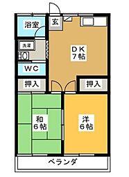 神奈川県横浜市青葉区美しが丘4丁目の賃貸アパートの間取り