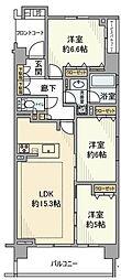 JR横浜線 鴨居駅 徒歩7分の賃貸マンション 2階3LDKの間取り