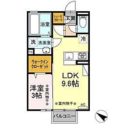 D-room野木町丸林 2階1LDKの間取り