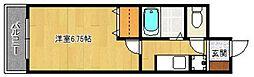 マイカ西新[4階]の間取り