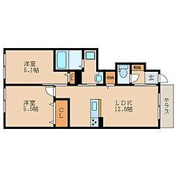 滋賀県東近江市建部瓦屋寺町の賃貸アパートの間取り