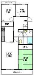 東武野田線 大和田駅 徒歩3分の賃貸マンション 2階3LDKの間取り