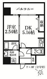 福岡市地下鉄七隈線 薬院大通駅 徒歩6分の賃貸マンション 7階1DKの間取り