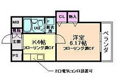 ヴィラージュ清風荘[3階]の間取り