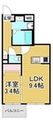 西鉄天神大牟田線 大橋駅 徒歩15分の賃貸マンション 5階1LDKの間取り