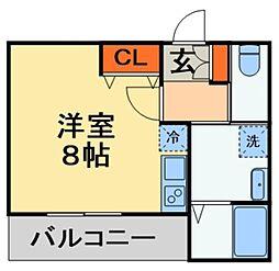 JR外房線 本千葉駅 徒歩5分の賃貸アパート 1階ワンルームの間取り