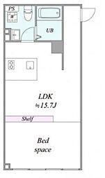 都営三田線 西台駅 徒歩7分の賃貸マンション 2階1LDKの間取り