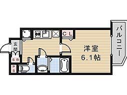 Osaka Metro谷町線 谷町九丁目駅 徒歩4分の賃貸マンション 10階1Kの間取り