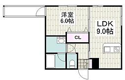 グランショア鎌倉 2階1LDKの間取り