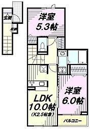 JR青梅線 河辺駅 徒歩17分の賃貸アパート 2階2LDKの間取り