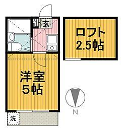 六角橋ハイツA棟[102号室]の間取り