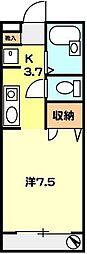 T−net ドミール朝志ヶ丘[102号室]の間取り