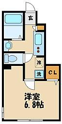 小田急小田原線 経堂駅 徒歩8分の賃貸マンション 1階1Kの間取り