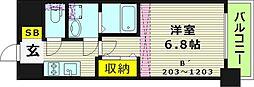 レジュールアッシュ桜宮リバーテラス 12階1Kの間取り