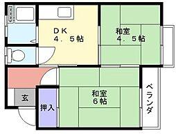 グリーンシティ富栄[2階]の間取り