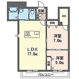 プリムヴェールさいたま新都心 2階2LDKの間取り