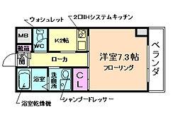 W IKEDA 9階1Kの間取り