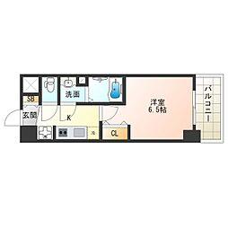 阪神なんば線 九条駅 徒歩5分の賃貸マンション 2階1Kの間取り