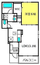 アネシス弐番館 1階1LDKの間取り