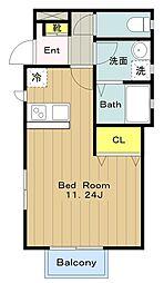 多摩都市モノレール 大塚・帝京大学駅 徒歩24分の賃貸アパート 1階ワンルームの間取り