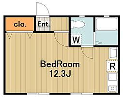 ドーム多摩M 1階ワンルームの間取り