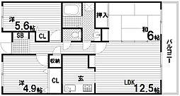 ウイング神戸[1階]の間取り