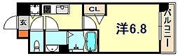 JR東海道・山陽本線 灘駅 徒歩5分の賃貸マンション 4階1Kの間取り