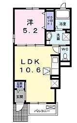 東武野田線 馬込沢駅 徒歩17分の賃貸アパート 1階1LDKの間取り