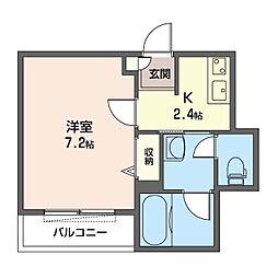 仮)新宿区百人町1丁目シャーメゾン 2階1Kの間取り