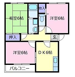 コートグランメールB棟[1階]の間取り