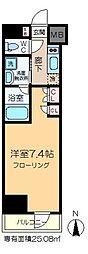 プラウドフラット木場II 13階1Kの間取り