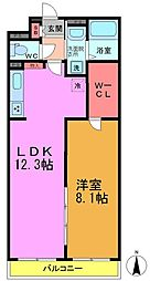 JR総武線 小岩駅 徒歩22分の賃貸マンション 2階1LDKの間取り