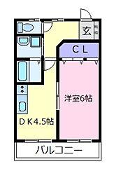 ハイツプライムB棟[2階]の間取り