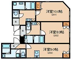 Glanlink Komazawa 2階ワンルームの間取り