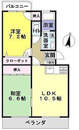 福岡県福岡市早良区田村3丁目の賃貸マンションの間取り