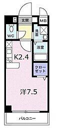 南海高野線 千代田駅 徒歩4分の賃貸マンション 1階1Kの間取り