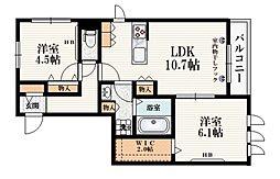 西武池袋線 東長崎駅 徒歩5分の賃貸マンション 2階2LDKの間取り