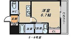大阪府堺市北区奥本町2丁の賃貸マンションの間取り
