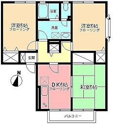 湘南台ビレッジB[1階]の間取り