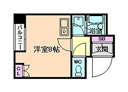 I Cube 阿波座(アイ・キューブ阿波座)[4階]の間取り