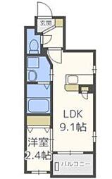福岡市地下鉄空港線 唐人町駅 徒歩9分の賃貸マンション 3階1LDKの間取り