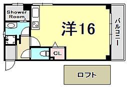 甲南ハイツ 2階ワンルームの間取り