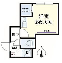 avancer成城a棟 1階ワンルームの間取り