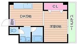 シャトー都島[3階]の間取り