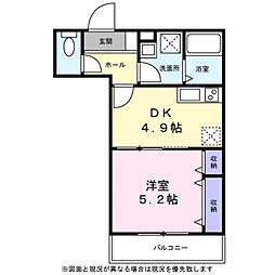 ベルフ武蔵小杉 2階1DKの間取り